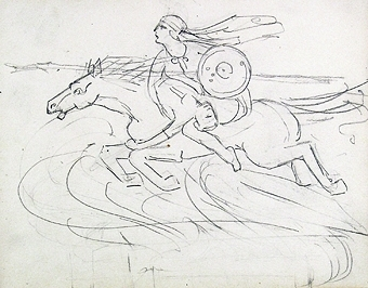 Beige skissbok. Ett 40-tal skisser från Frankrike, en del daterade 1907. Blandade motiv: Människor och kustbilder.