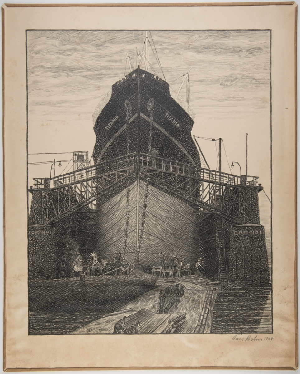 M/S 'Titania' i tørrdokk ved Nylands Verksted