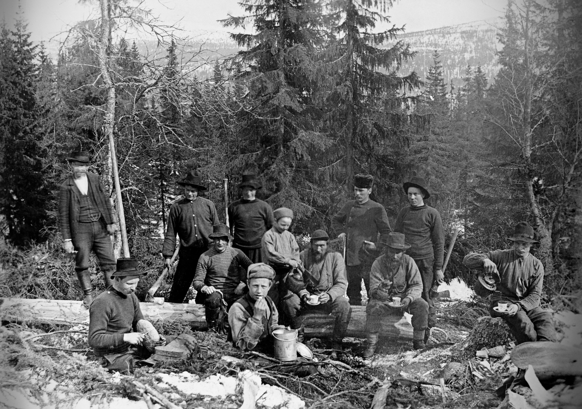 """Skogsarbeidere fotografert mens de kvilte på hogstfeltet.  Fotografiet er tatt i Skårlia Ljørdalen i Trysil i 1906.  Det er elleve menn og en gutt med på bildet.  Tre av mennene sitter på en nyfelt og nybarket stokk, og gutten skjenker kaffe til en av dem.  En mann sitter på stubben og skjenker seg sjøl kaffe.  I baret foran setter en mann og skjærer en skalk fra et brød og en ung gutt som spiser fra et blikkspann.  Bakenfor står fem karer, to av dem med økser i handa, en med en barkespade og en med noe som kan se ut som en skyveklave av stål.  Bildet er tatt i et granbestand med islett av bjørk.  Fotografiet illustrerer også et mangfold med hensyn til bekledning under skiogsarbeid.  Et par av karene ser ut til å ha vadmelsdresser, noen har gensere eller busseruller på overkroppen, andre har vester og en har ei jakke med digre slag, et plagg som antakelig ble brukte i mer representative situasjoner før den ble et arbeidsantrekk.  Flere av karene brukte vidbremmete, svarte filthatter, men en hadde også såkalt skjoldlue og skogvokteren hadde dobbeltspent jakke og pelshatt uten bremmer.  Mannen som står på tømmerstokken til venstre i bildet omtaltes som """"avmäter Jonas fra Malung"""".  Karene som sitter på den samme stokken er (fra venstre) Halvor Skåret, Ole Olsen Skåret og Per Olsen Skåret.  Mannen på stubben er antakelig Johan Bekkevold.  Mannen som sitter i baret til venstre i forgrunnen hette Sponberg og var fra Nerhagen i Trysil, gutten ved siden av er Jon O. Skåret fra Ljørdalen.  Karene som sto bak stokken er Johan Olsen fra Ljørdalen, Olaf O. Skåret, Oddmund Skåret (gutten med kaffekjelen), skogvokter Nils Høye, og en trysling, som vi foreløpig mangler navnet på."""