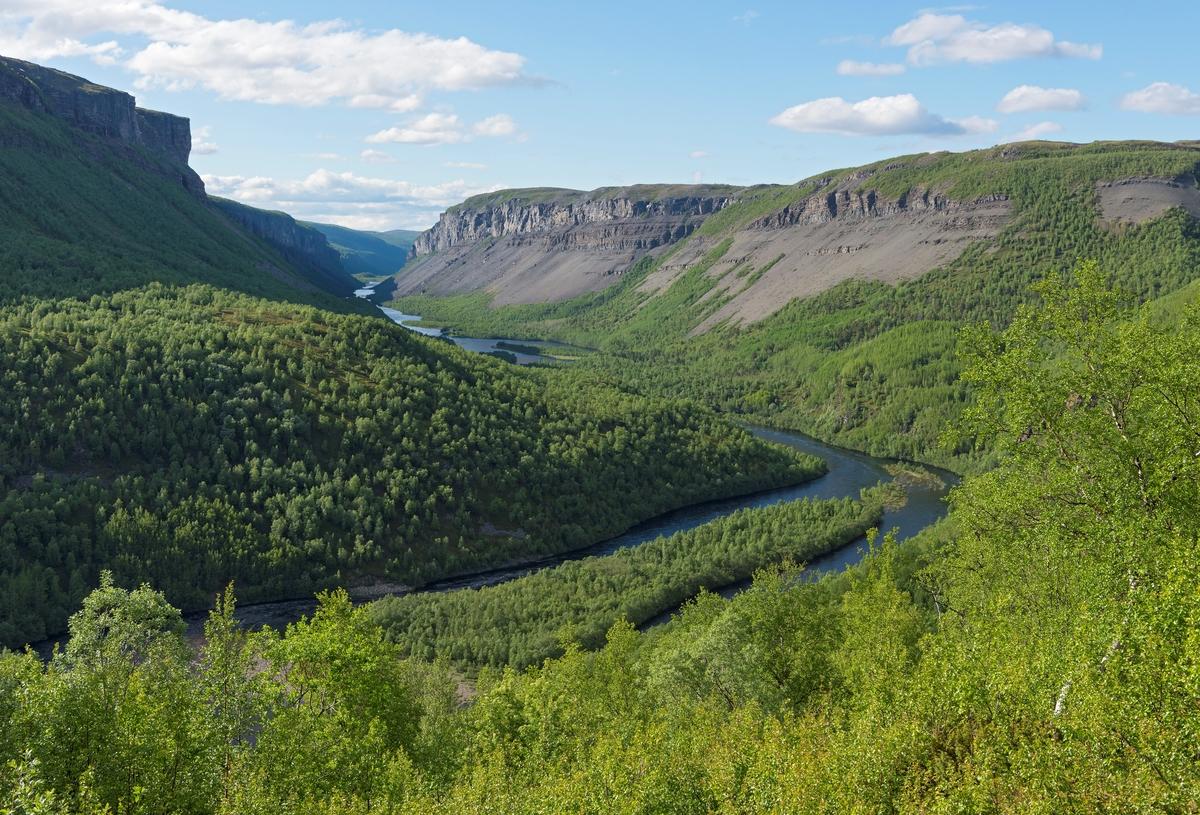 Fra Sautso i dalføret langs Altaelva/Àlttáeatnu, Alta, Finnmark. Vi ser i retning Harestrømmen og Alta canyon. Dette spesielle landskapet, med sitt plante- og dyreliv, var et sentralt tema i en av den mest omstridte vassdragsutbyggingssaken i Norge. Alta canyon.