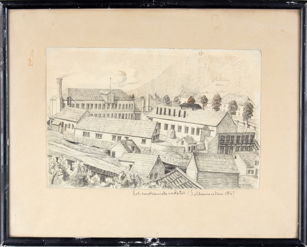 Tusjstegning av verftet Bergens Mekaniske Verksted, avd-. Solheimsviken datert 1867.