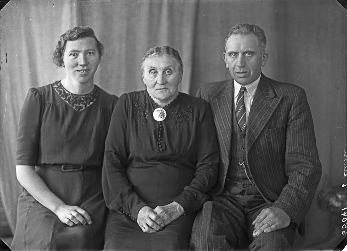 Gruppebilde. Familegruppe på tre. Ung kvinne, eldre kvinne og mann. Bestilt av Anna Lunde. Kirkegt. 178.