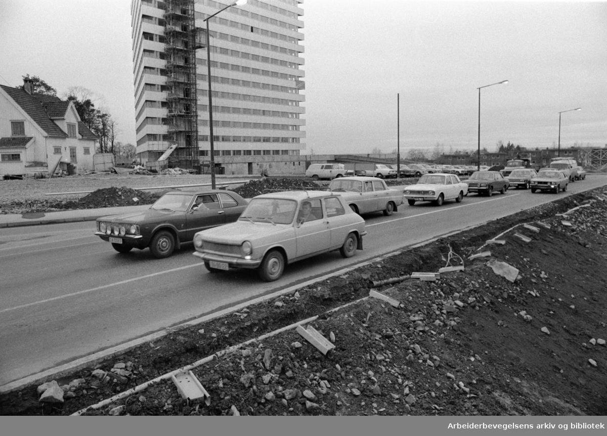Bjerkekrysset. Prøveåpning av det nye Bjerkekrysset..November 1972