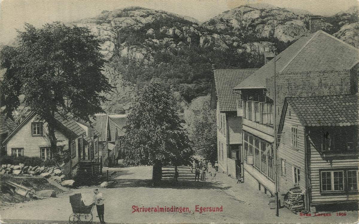 Skriveralmenningen i Egersund sett fra krysset med Ludvig Feylings gate