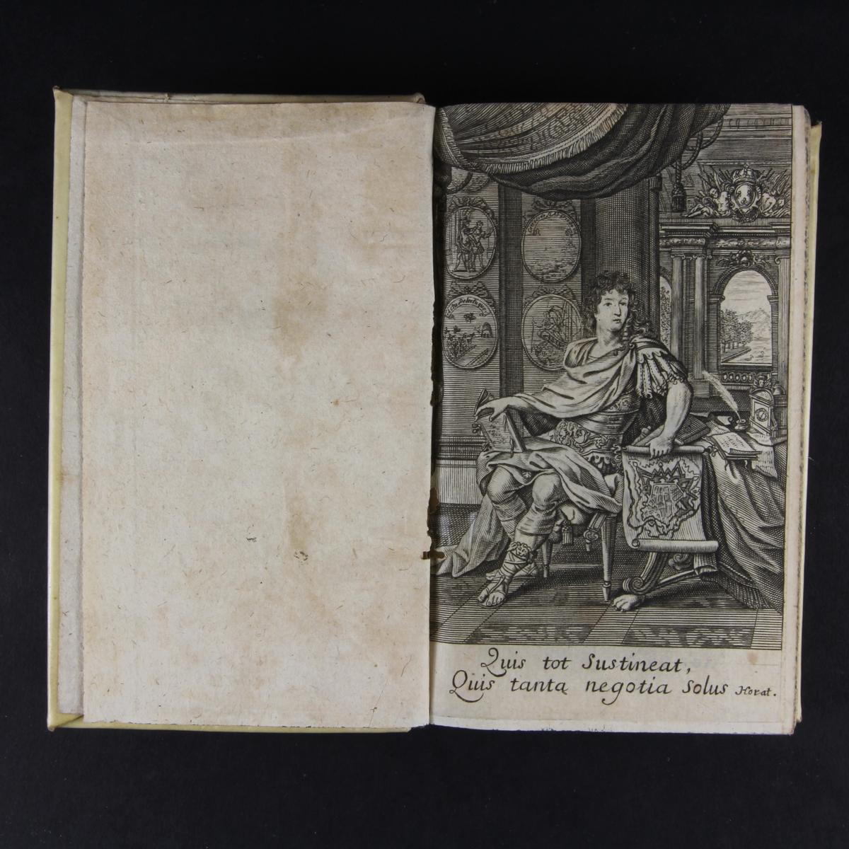 """Bok, inbunden """"L´homme de cour"""".  Band av pergament, skuret blåstänkt snitt. Anteckning om förvärv."""