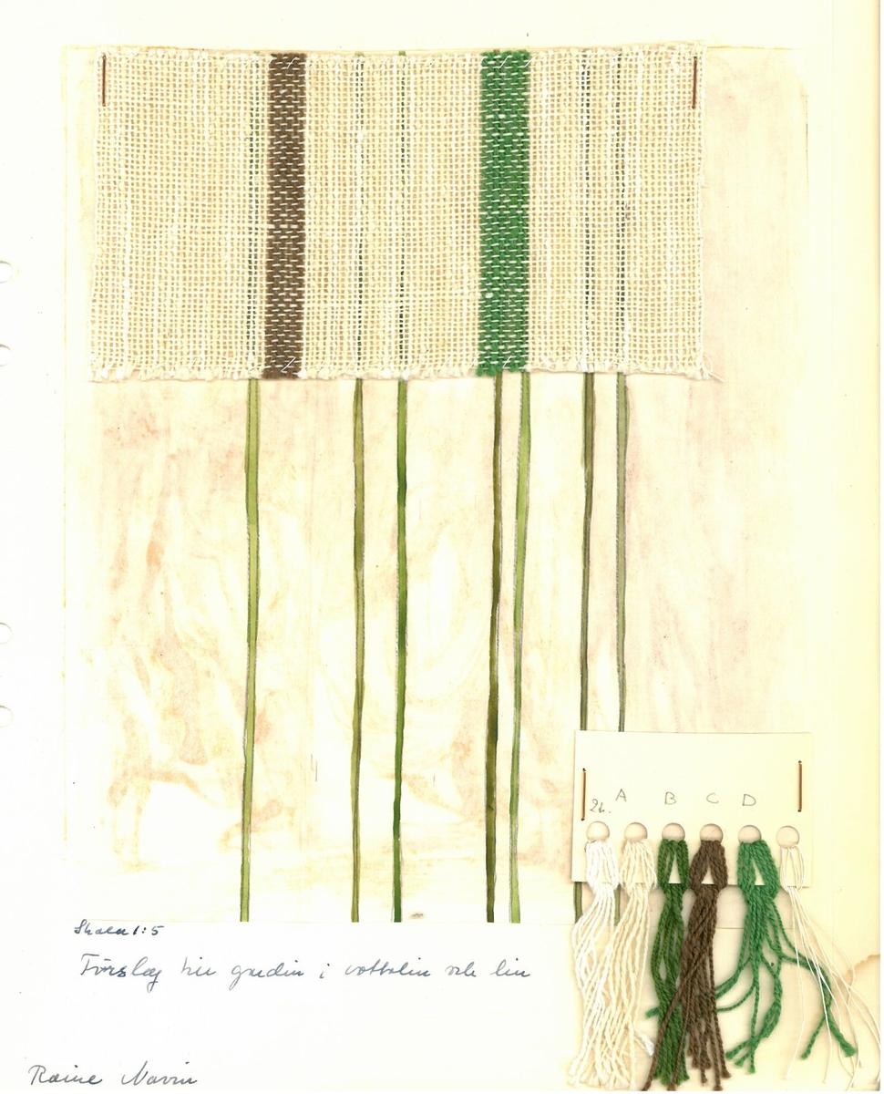 Pärm med vävprover till gardiner. Formgivare: Raine Navin