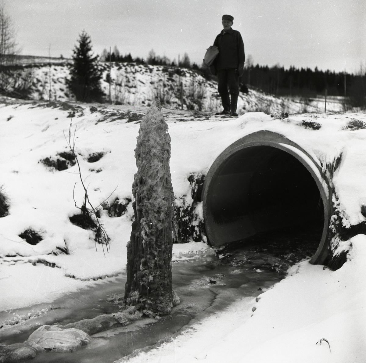 En man står på en bro och tittar ned på en ispelare i ett vattendrag den 19 december 1957.