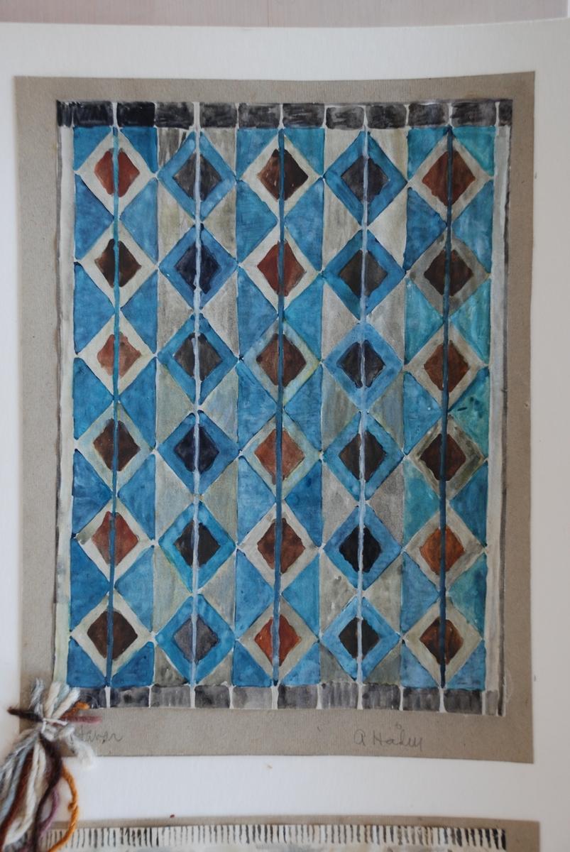 Förslag till mattor i rölakan komponerade av Anna Hådell. Med garnprov.