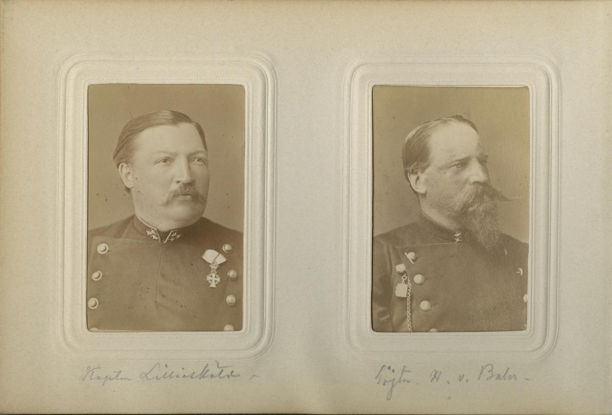 Porträtt av Johan Gustaf Lilliesköld, kapten vid Jämtlands fältjägarkår.  Se även bild AMA.0009373.