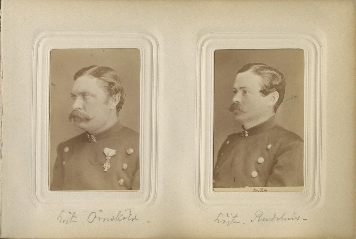 Porträtt av Alfred Theodor Rudelius, löjtnant vid Kalmar regemente I 21. Se även bild AMA.0008405.