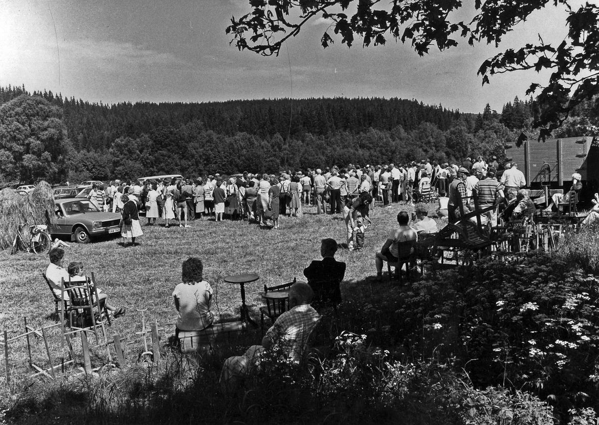 Folk samlade på en äng vid auktion på Ekåsaryd, Alingsås landsförsamling. I förgrunden sitter folk i skuggan av ett träd.