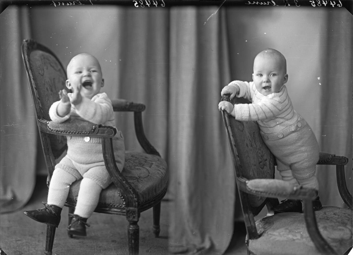 Portrett. Første foto med ung lyshåret kvinne i mørk kjole med broderier på brystet. Liten gutt med strikkede klær sittende på fanget. Resten av fotoene viser den lille gutten alene. Bestilt av Einar Huglen. Nygård.