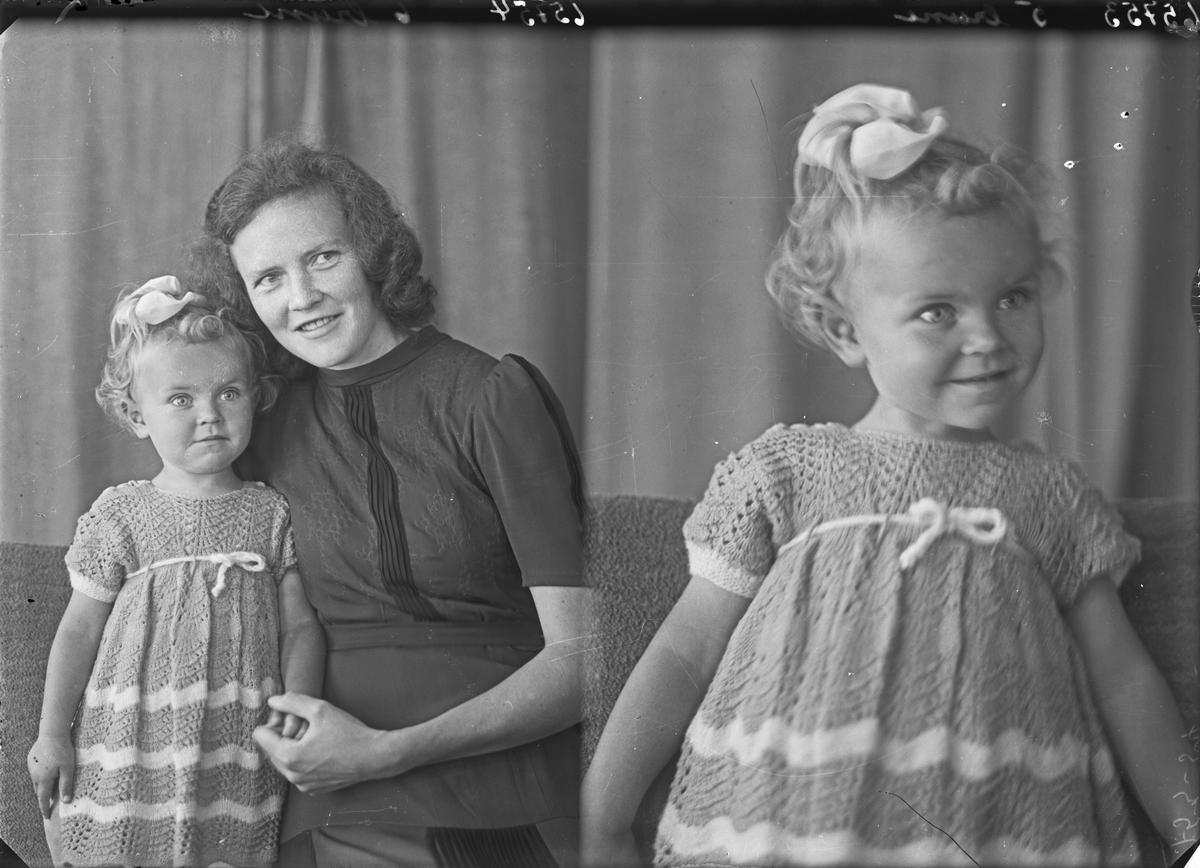 Portrett. Ung lyshåret pike i i strikkekjole med sløyfe i håret. Bestilt av Fru Berit Reinerthsen. Tjernagel.