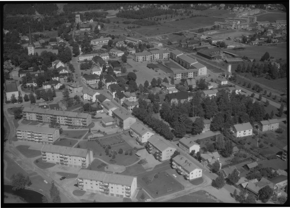 Flygfoto över centrala Norberg. Tagen 1965 av AB Flygtrafik Dals Långed.