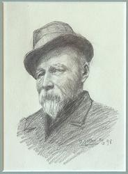 Portrett av maleren Johan Nielssen [Tegning]