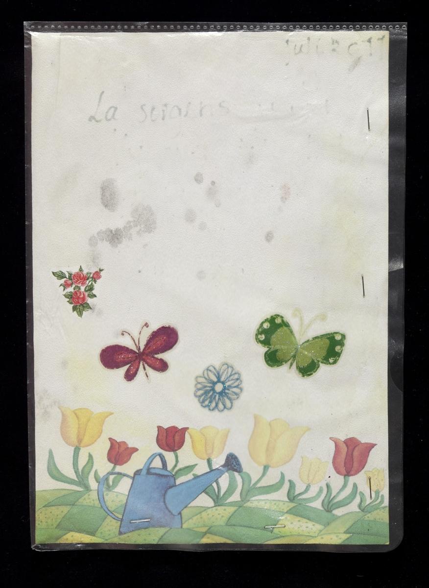 Hilsen innsamlet etter terrorhandlingen 22. juli 2011 fra minnesmarkeringene i Lillestrøm.   Hilsenen er laget på et A4 brevark. Teksten er nok skrevet med tusj og er desverre uleselig. Brevarket har dekor nederst på siden: Vi ser et landskap med parseller - åker og eng. Opp fra engene vokser store blomster; tulipaner(?) i rødt og gult. Fremst i motivet står en blå vannkanne. Avsender har limt på/dekorert arket med to sommerfugler: en grønn og en rød samt en blå blomst. Disse tre merkene har glitter på seg. I tillegg finner vi også et klistremerke med røde roser. Arket ligger stiftet fast i en A4-plastlomme.