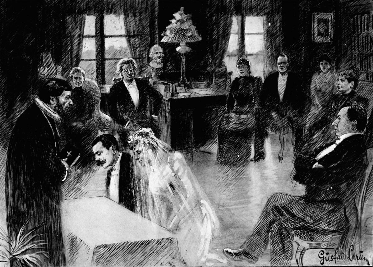 Aulestad, bryllup, Sigurd Ibsen og Bergljot Bjørnson viet, tegning av G. Lærum