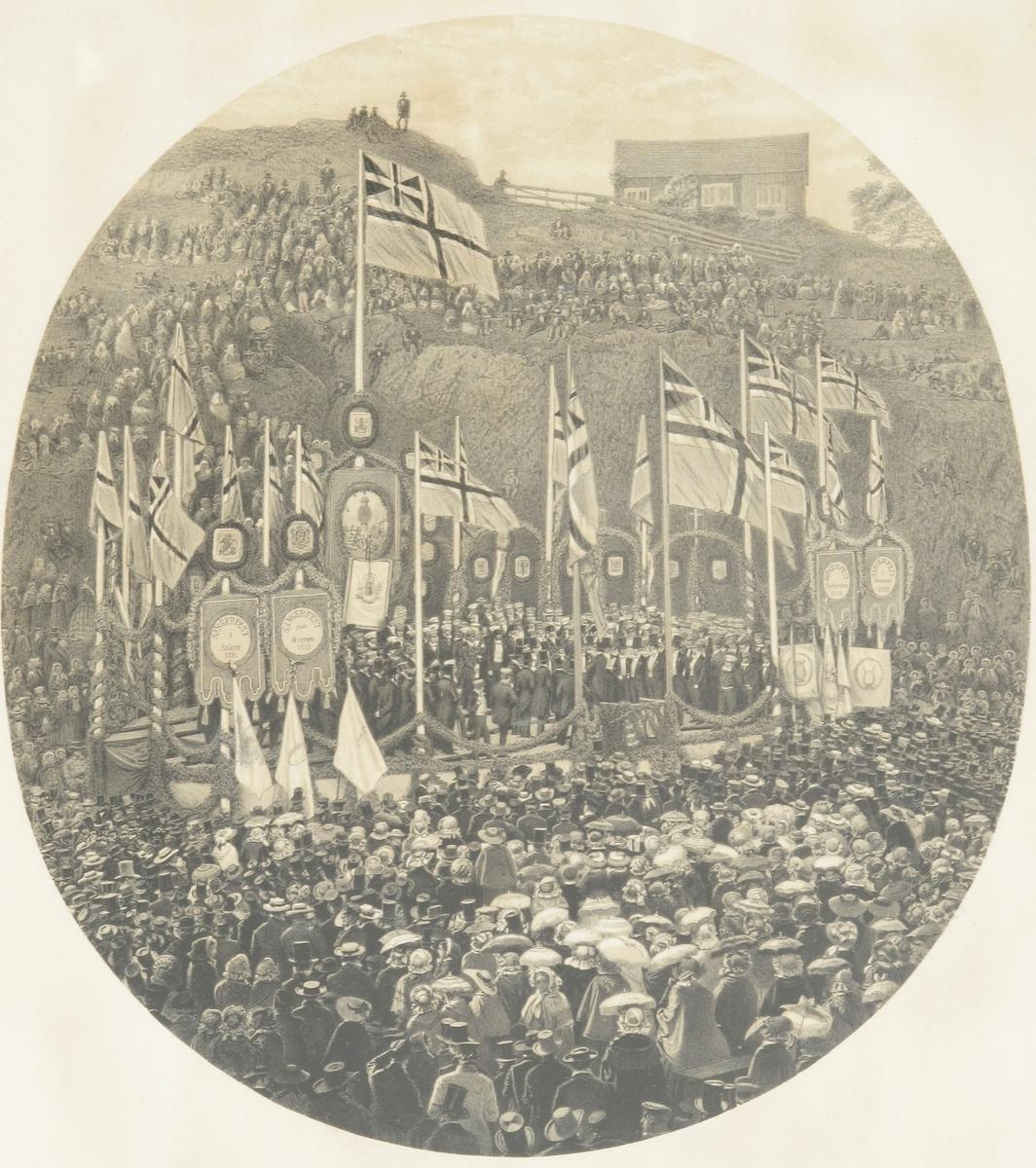 Sangerfesten i Arendal 1859, festen paa Skydebanen.