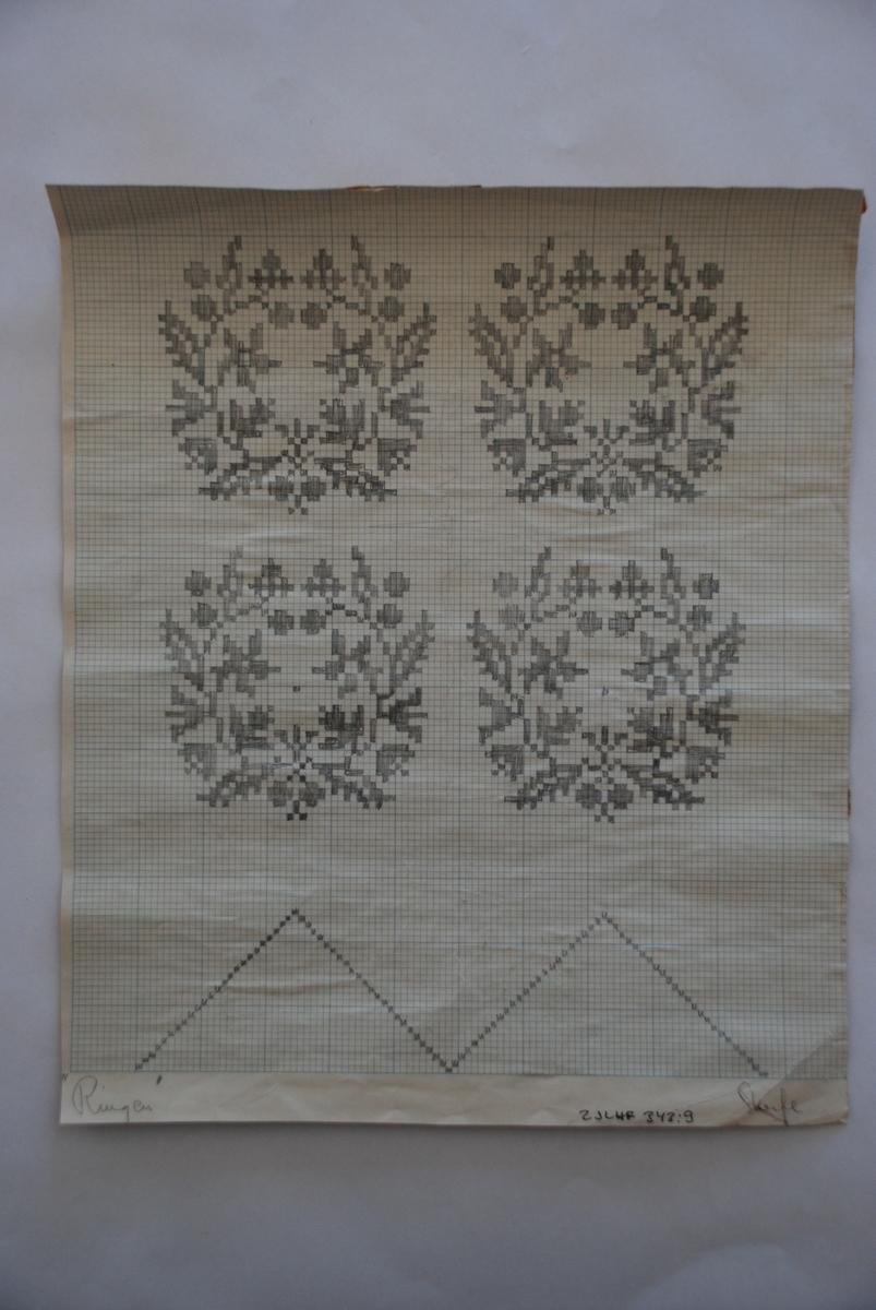 Handtecknade mönster till damastväv. Ej namgiven upphovsperson.