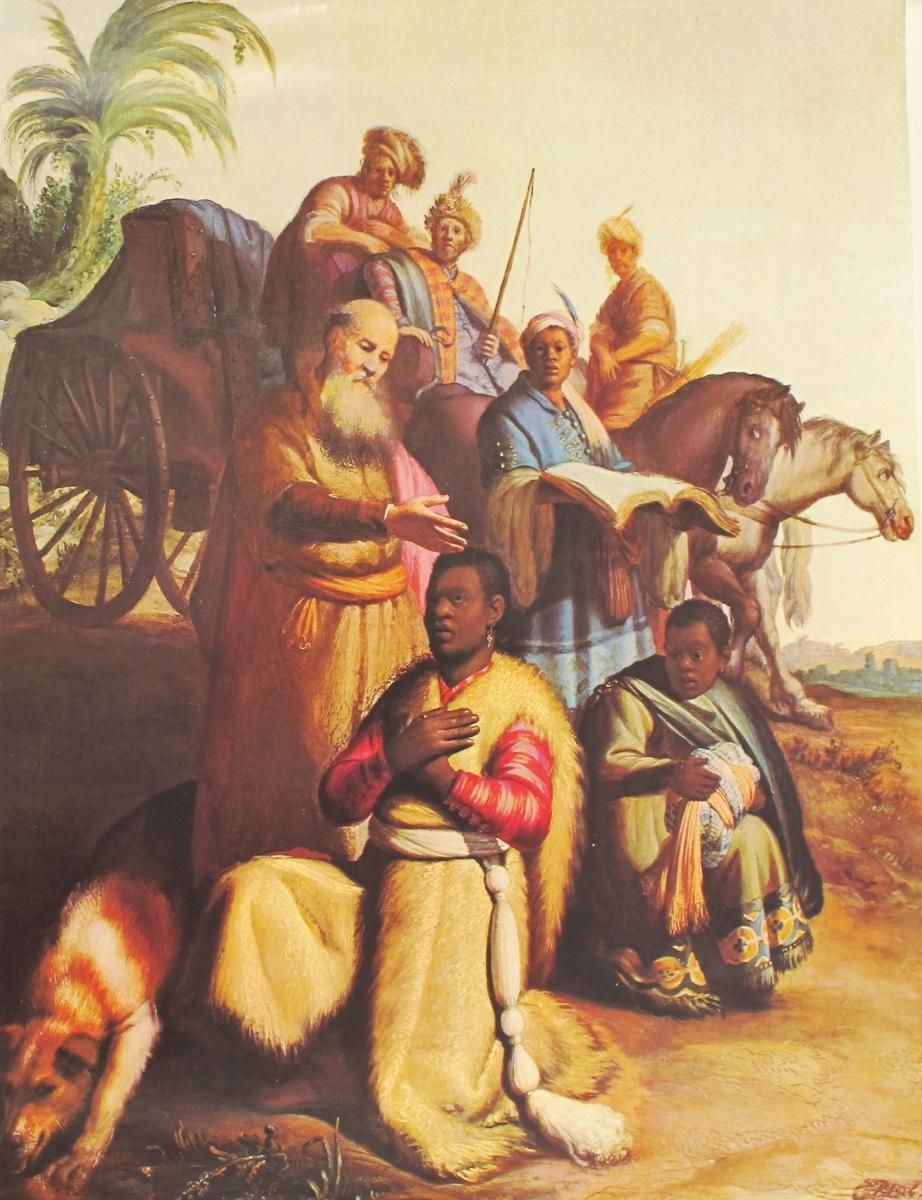 Figurgruppe med 7 personer i og foran en vogn med to hester. Apostlene Filippus som velsigner ham i dåpen. Bak døperen hans tjener på huk.