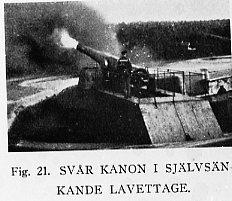 Kanon i självsänkande lavettage. Fästningsartilleri.
