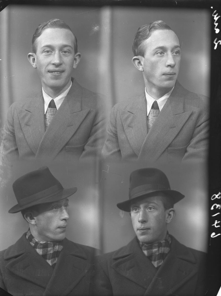 Portrett. Ung mann i mørk dress, genser, hvit skjorte og slips på to foto. På de to siste fotoene har han på seg hatt og frakk med rutet skjerf i halsen. Bestilt av Ingolf Hustvedt. Langt.