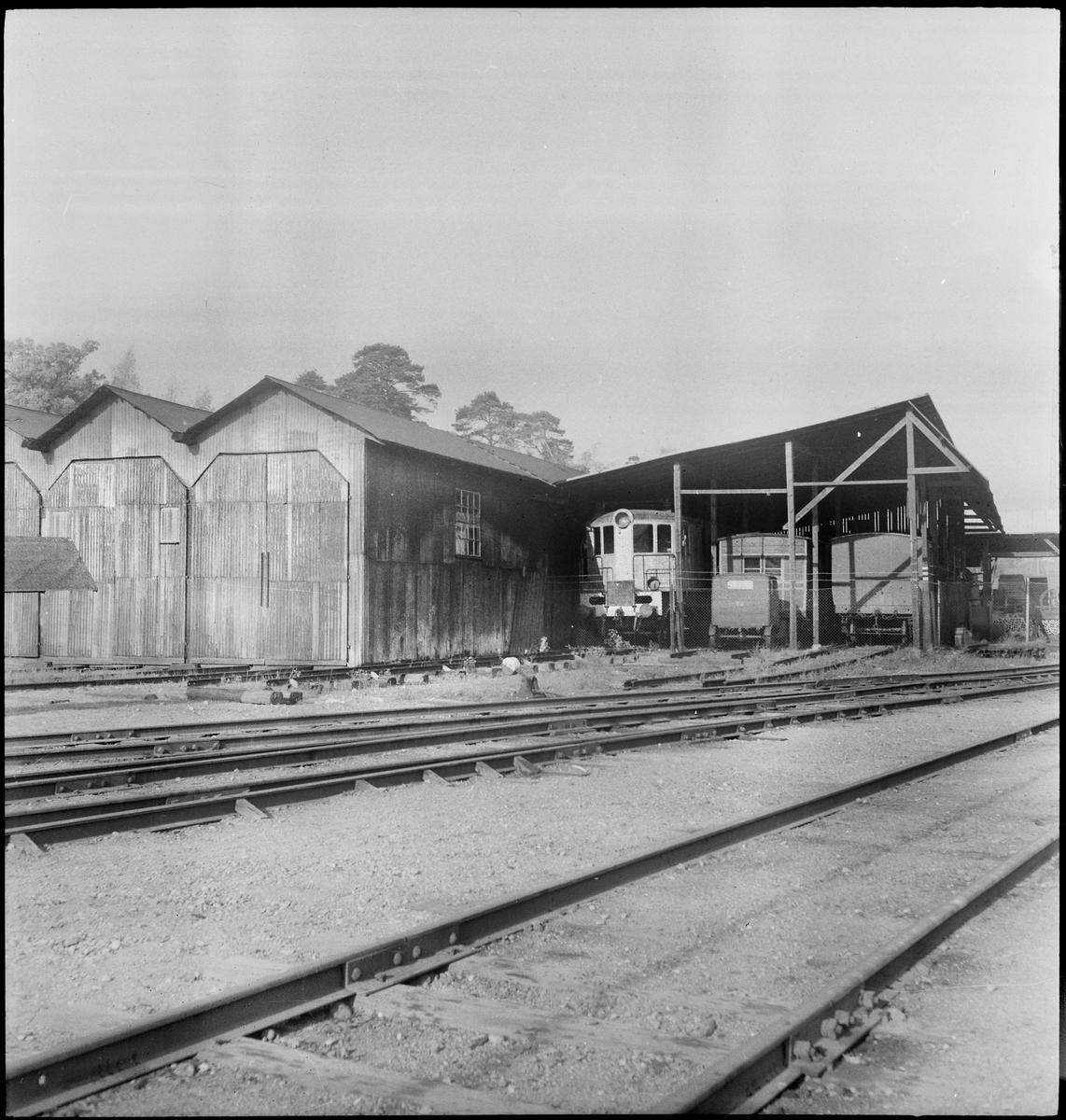 Järnvägsmuseets vagnhallar och skjul för diverese fordon i Tomteboda.