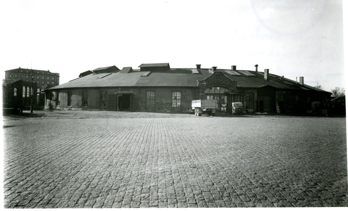 Gamla verkstads området i Göteborg vid Nils Ericsonsgatan (f. norra kvarngatan ) under pågående rivningsarbete oktober 1939.