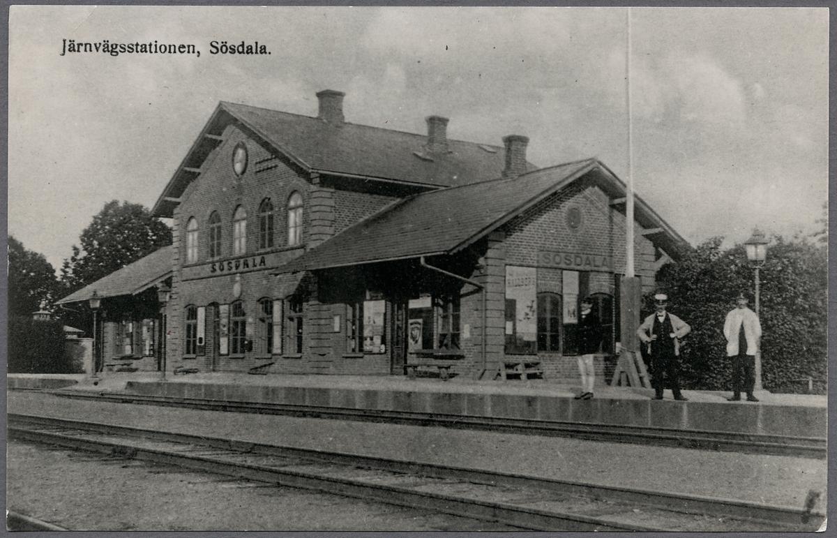 Sösdala station En- och enhalvvånings stationshus i tegel, byggt 1863