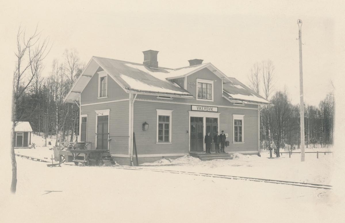 Stationen anlagd 1874. Stationshuset, tvåvånings i trä, ombyggdes helt 1947. Senare nedgraderades stationen till lastplats. Den lades ned 1984.
