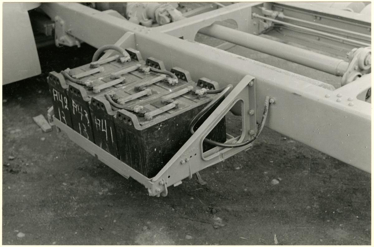 Detaljbild av fordonsbatterier.