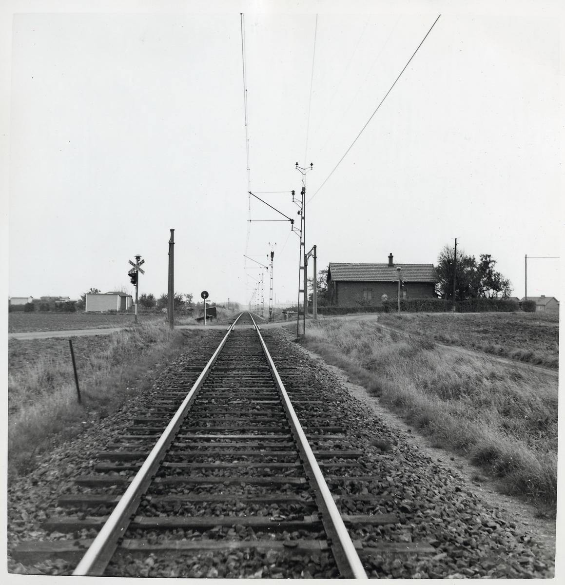 Järnvägsövergång vid Petersborgsvägen på linjen Skytts Vemmerlöv-Trelleborg. Banvaktstuga Petersberg (544).