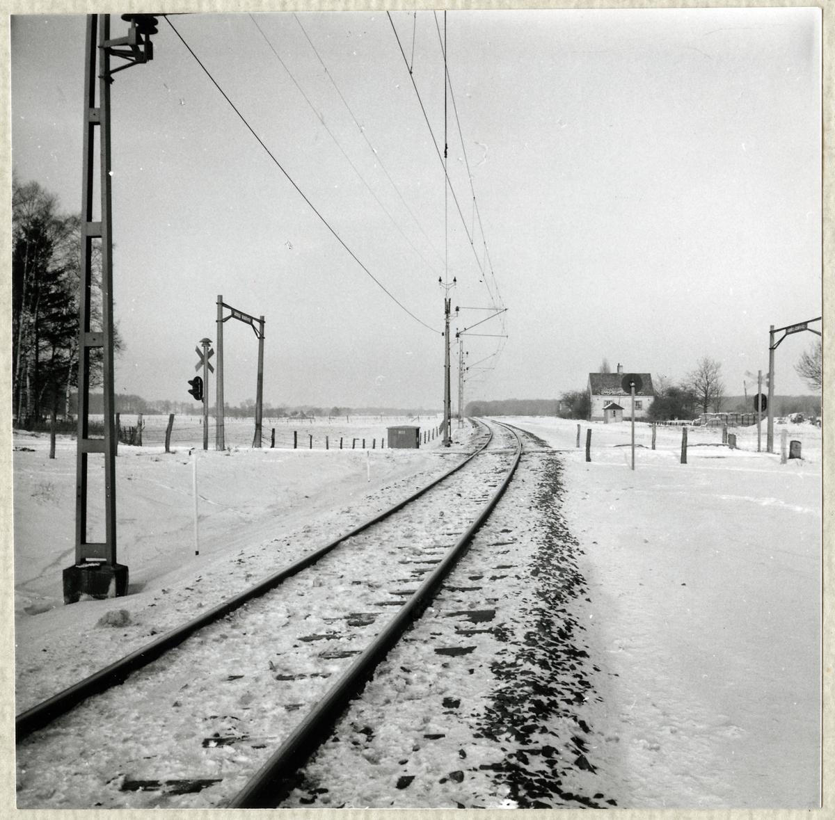 Järnvägsövergång vid Gyhult på linjen mellan Ödåkra och Helsingborg färjestation.