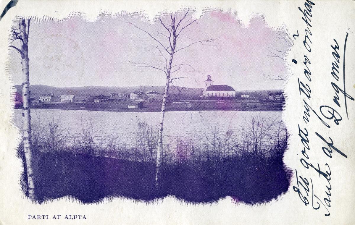 Bebyggelsen i Alfta centralort syns på andra sidan av kyrktjärn. Till höger syns Alfta kyrka, i förgrunden växer lövträd.