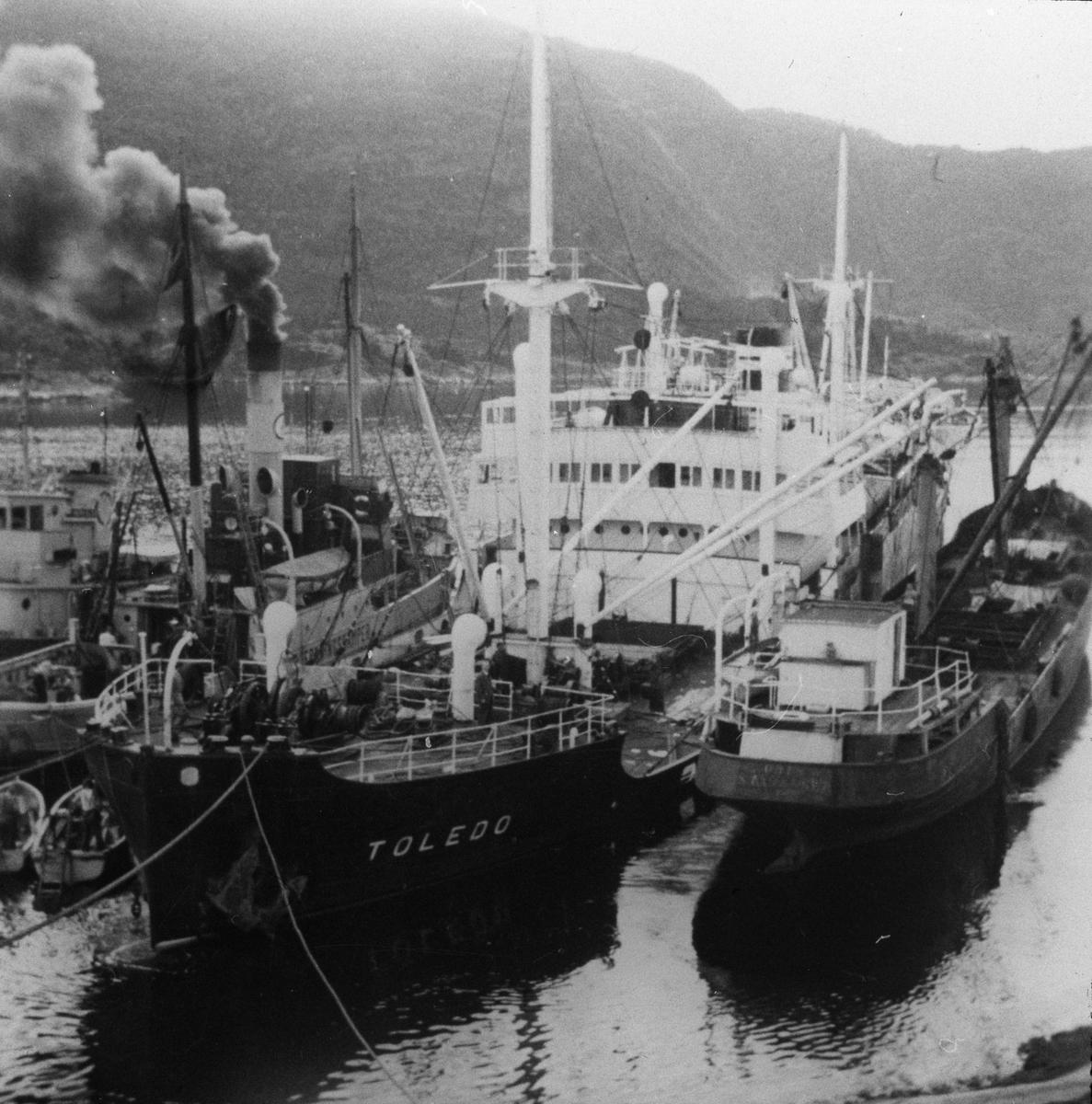 MS TOLEDO flankert av to mindre dampskip