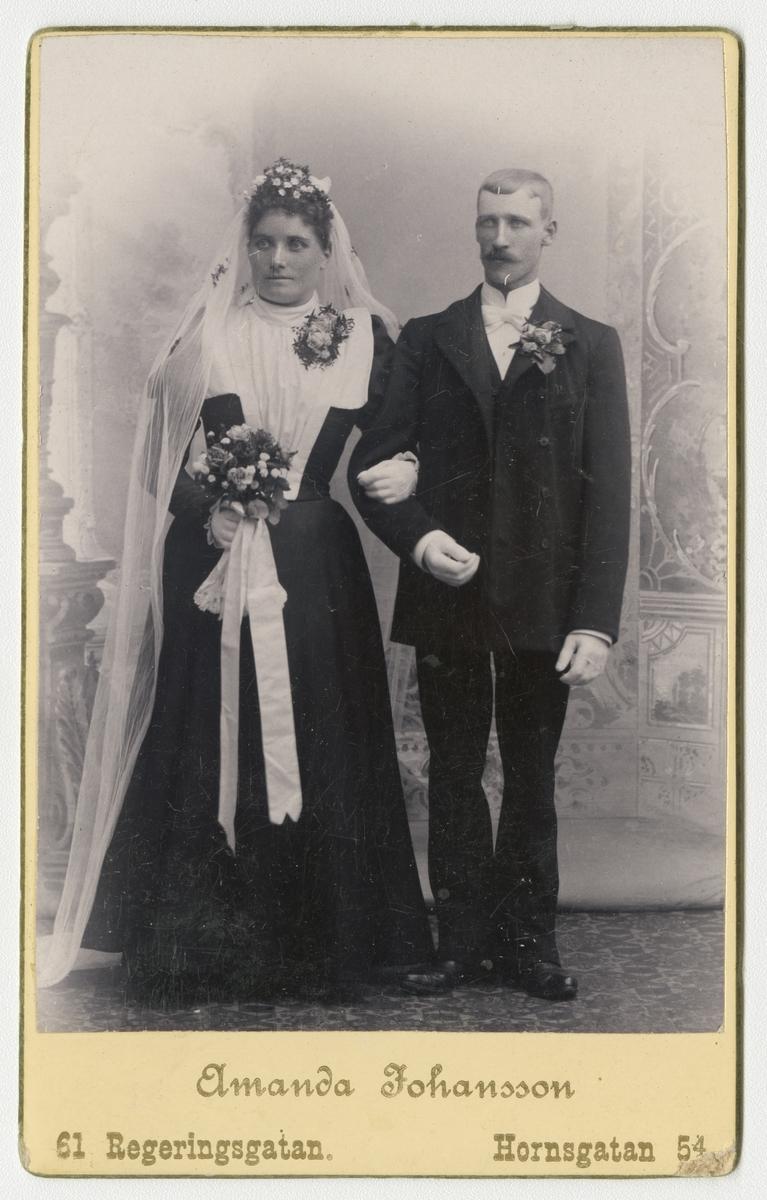Porträtt av okänt brudpar.
