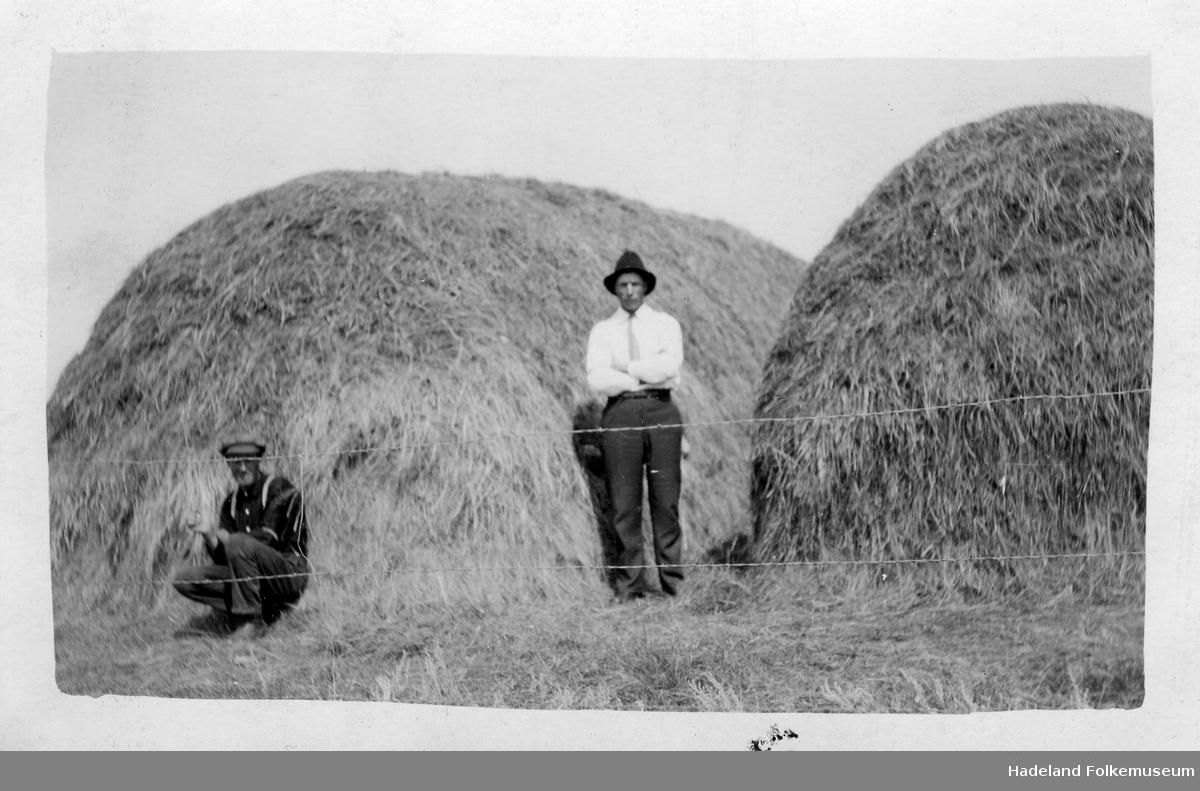 Bilde 1: To menn foran store høystakker. Bilde 2: To menn stående i en kornåker.