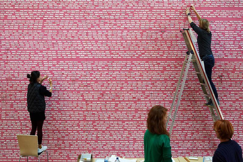 Installering av Desconocida i «The common thread», lagmansretten i München, 2016. Foto: Barbara Hartmann