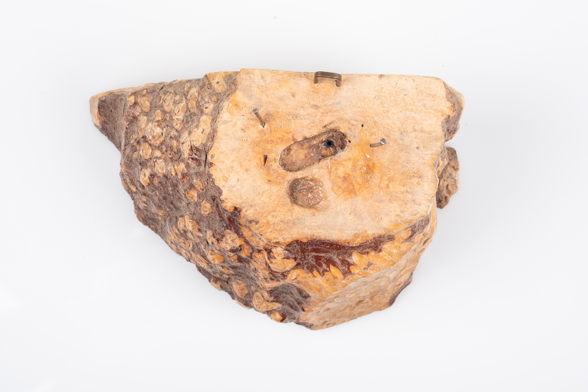 En trestubbe som brukes som sokkel til trefigur. Det er to spiker og en opphengskrok av metall på stubben. Det er spor av en sko eller fot på oversiden.
