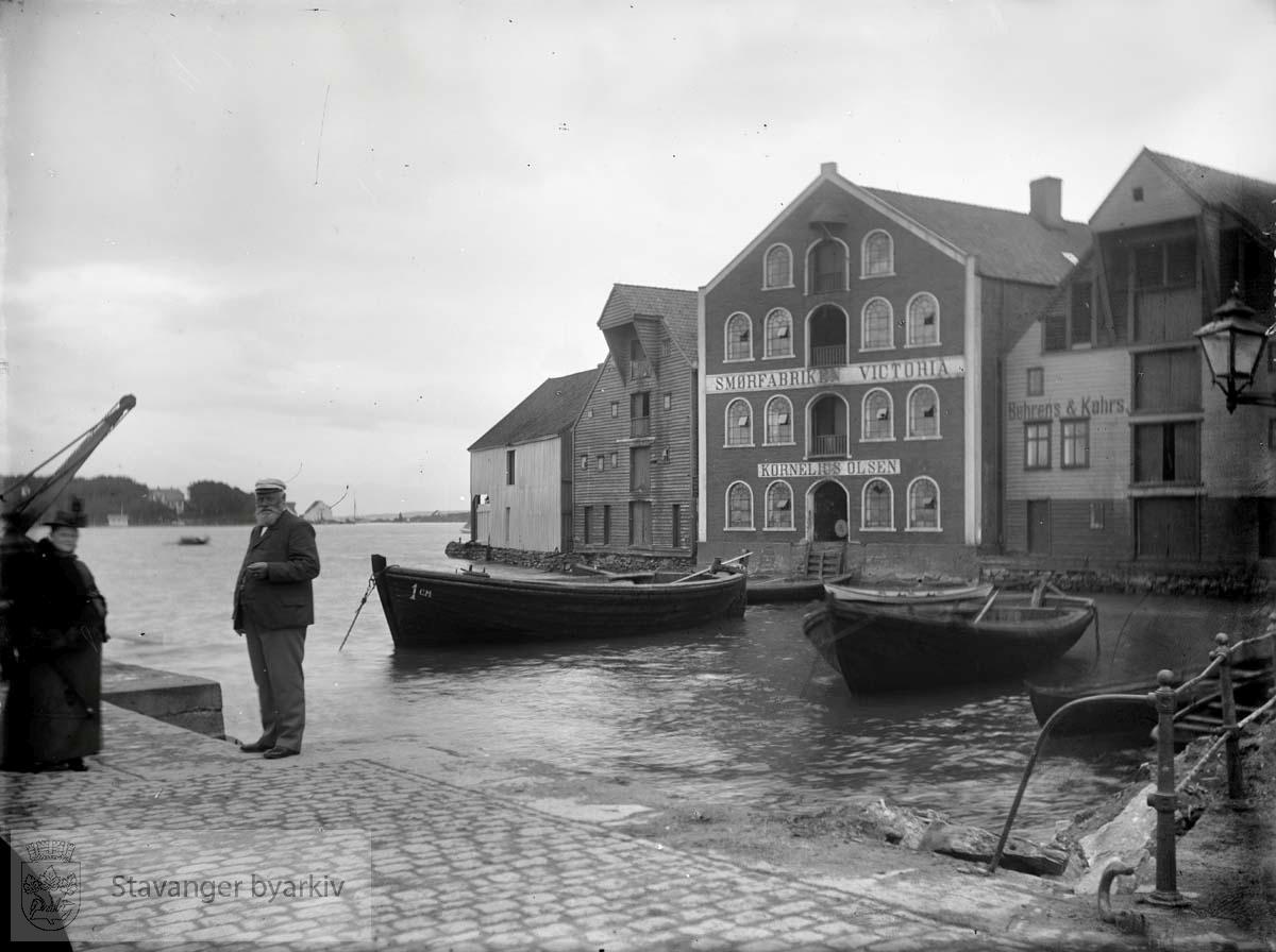 Til venstre DSDs sjøhus. Murbygningen i midten er Børehaugen 5, Smørfabriken Victorias første lokaler, senere overtatt av Peder P. Næsheim. Til høyre er Børehaugen 3, Behrens & Kahrs' skinnhandel. Viken kaltes Baadeviken. Helt til venstre i bakgrunnen er Sølyst.