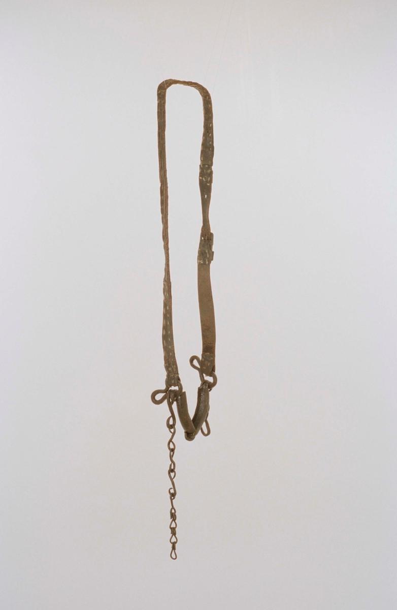 """Seltyg med tillhörande betsel av läder, selbåge, lokor och selknän av björk, bukgjord av textil. Betsel med bett av järn och delvis hopsytt huvudstycke utan pann- och käkrem. Märkt """"I. O. S. / 1863"""" på selknäna. Övre lokremmen av, nedre lokrem kedja av järn; stoppning på selknän och selbågsputor saknas. Tömmar saknas."""