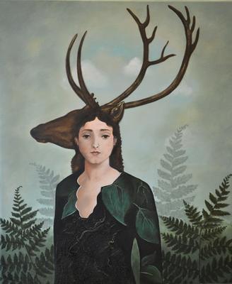 """""""Datter av Frøya"""" av Zuzanna, inspirert av Catrin Welz-Steins maleri """"Forest Warrior""""."""