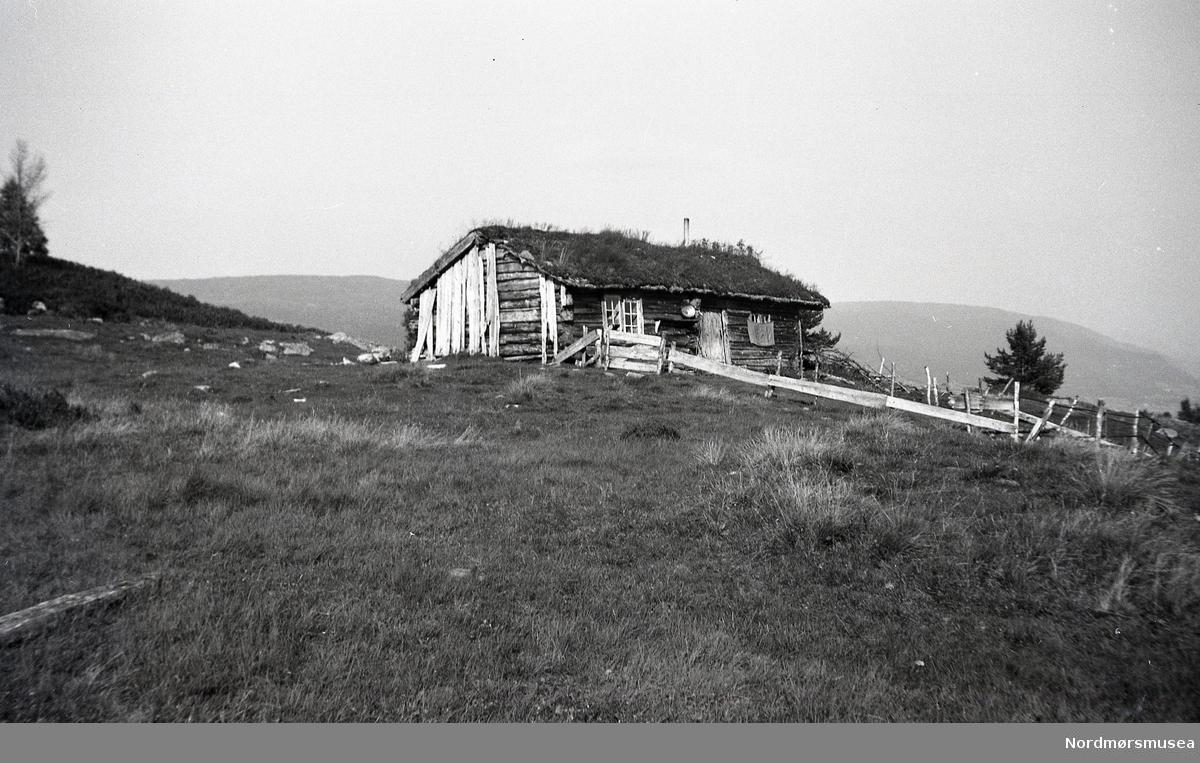 Gamal seter som ligg på ei høgde i terrenget. Heimistuskjelet, Honnstadsetra i Surnadal.