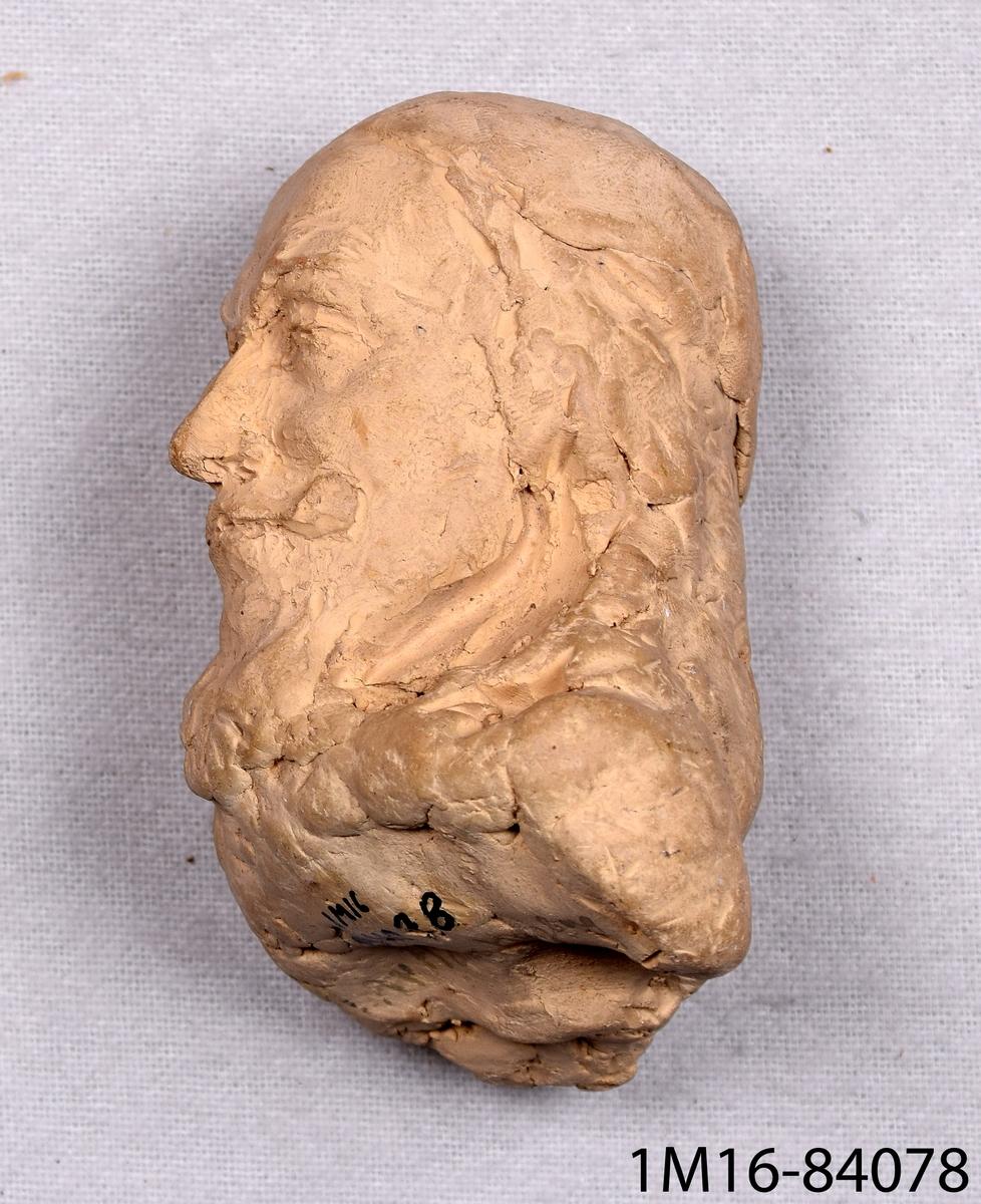 Modellerat huvud och axlar av bränd lera, porträttet föreställer Axel Oxenstierna. Tillverkat av Hans Hagberg, Lidköping.