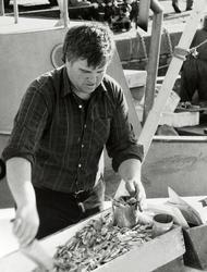 Havna. Skipper Sunde selger reker. Mars 1984