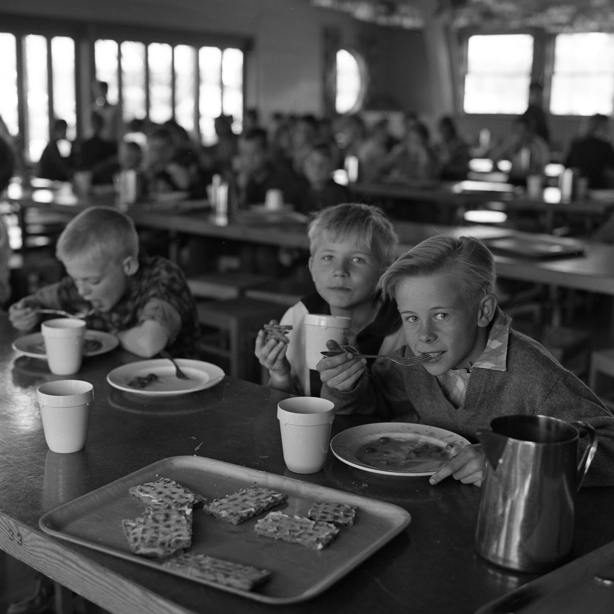 Tre pojkar i skolbespisningen. Maten är levererad från AB Stig Dahlberg Storkök i Medåker. Inte känt vad pojkarna heter. Bilden kan vara tagen i Folkets park i Köping, som användes som skolbespisning under en period. Färdigbredda, hårda smörgåsar på en bricka. Rostfri kanna. I bakgrunden anas flera barn, vid långbord.
