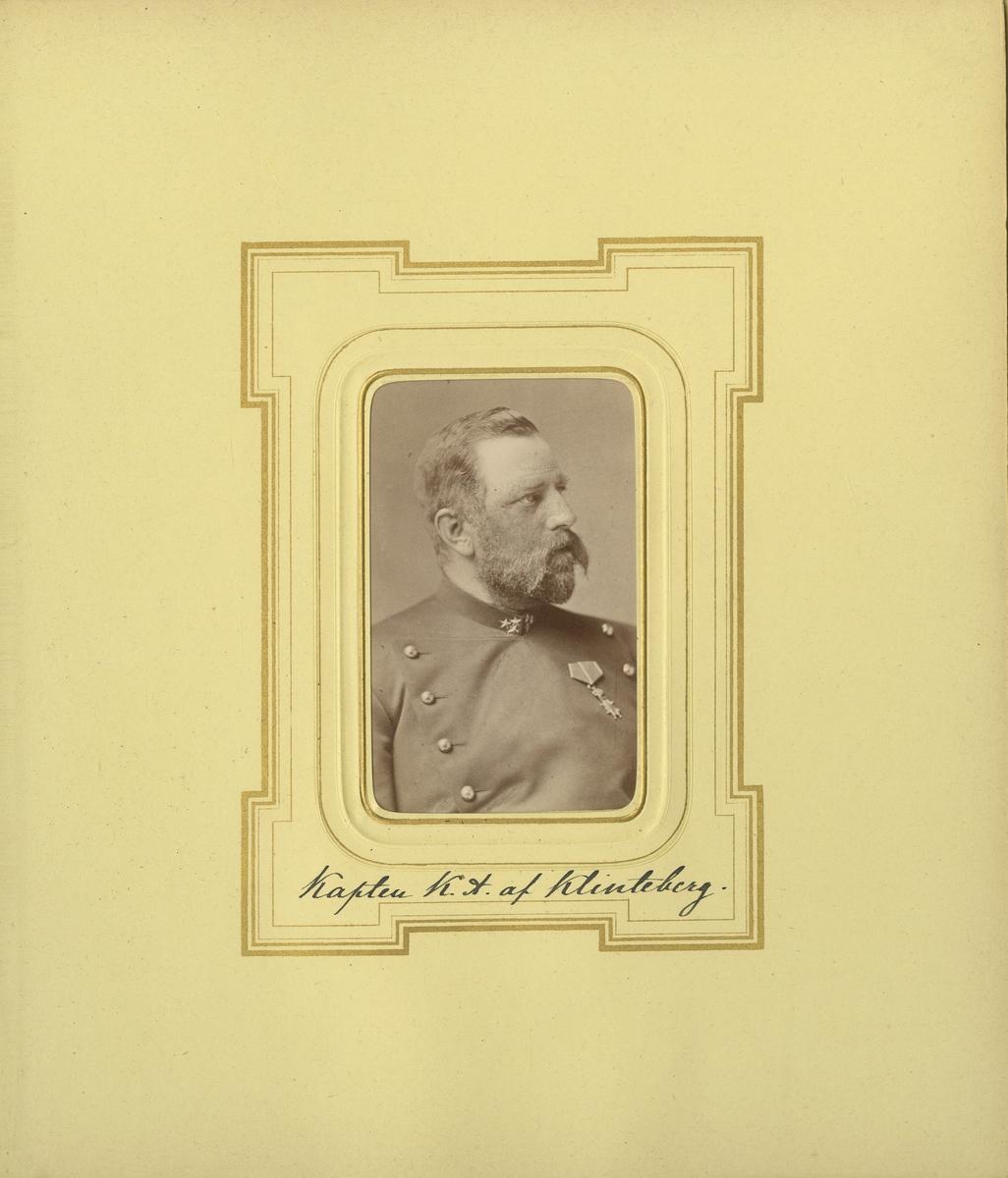 Porträtt av Knut Alfred af Klinteberg, kapten vid Smålands grenadjärbataljon.  Se även bild AMA.0006207, AMA.0009367 och AMA.0021798.