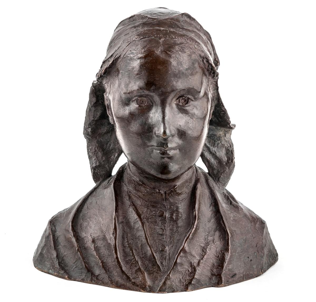 """Byst föreställande ung kvinna från Bretagne, Frankrike. Kallad """"Bretagnska"""", av Ida Matton, 1896."""