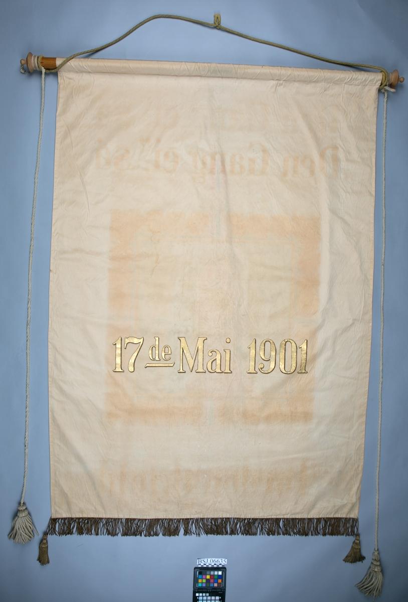"""Fane med maleri Peter Wessel Tordenskjold med tekstene på forsiden """"Den Gang ei, så - Tordenskjold"""" og bakside """"17ende Mai 1901"""""""