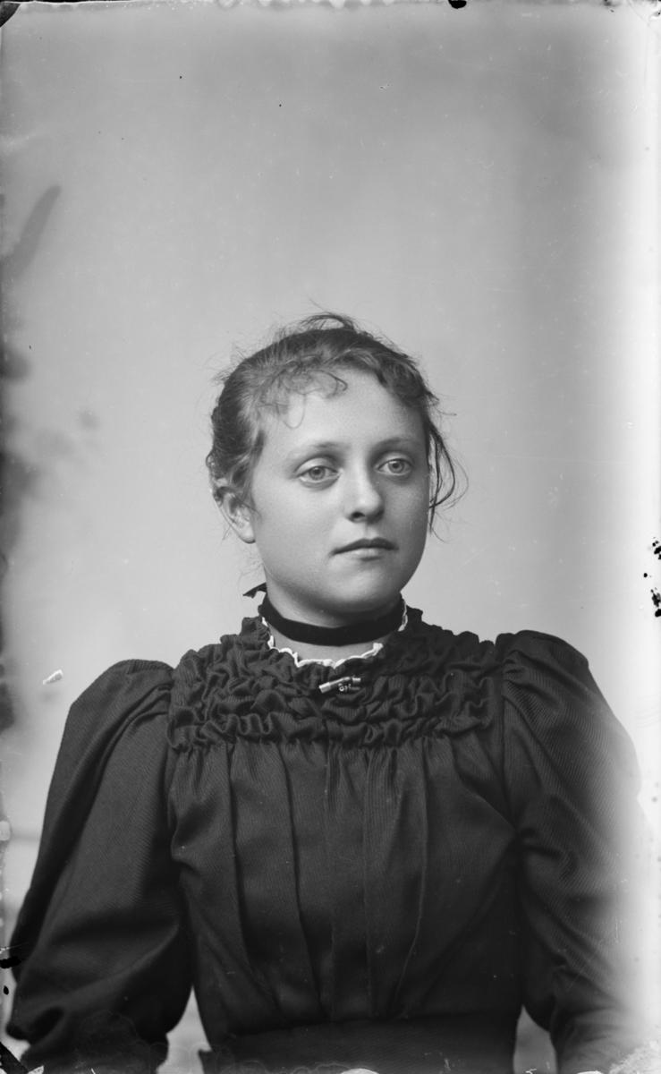 Portrett av yngre kvinne i flott kjole med puffermer
